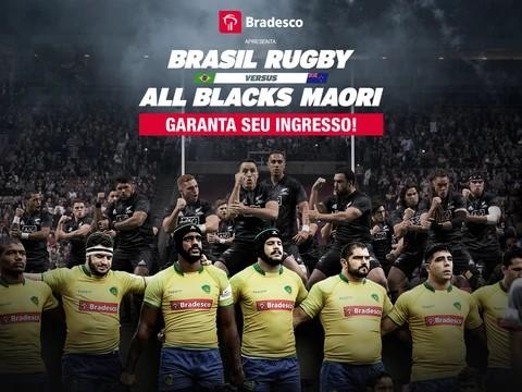 Além dos clientes com cartões de créditos Bradesco, hoje tem início a venda geral de ingressos para a partida entre All Blacks Maori X Brasil Rugby
