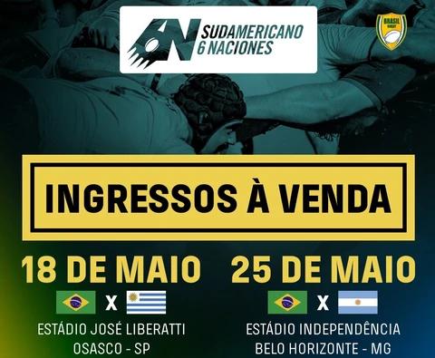 Ingressos à venda para os jogos dos Tupis no Sul-Americano 6 Naciones